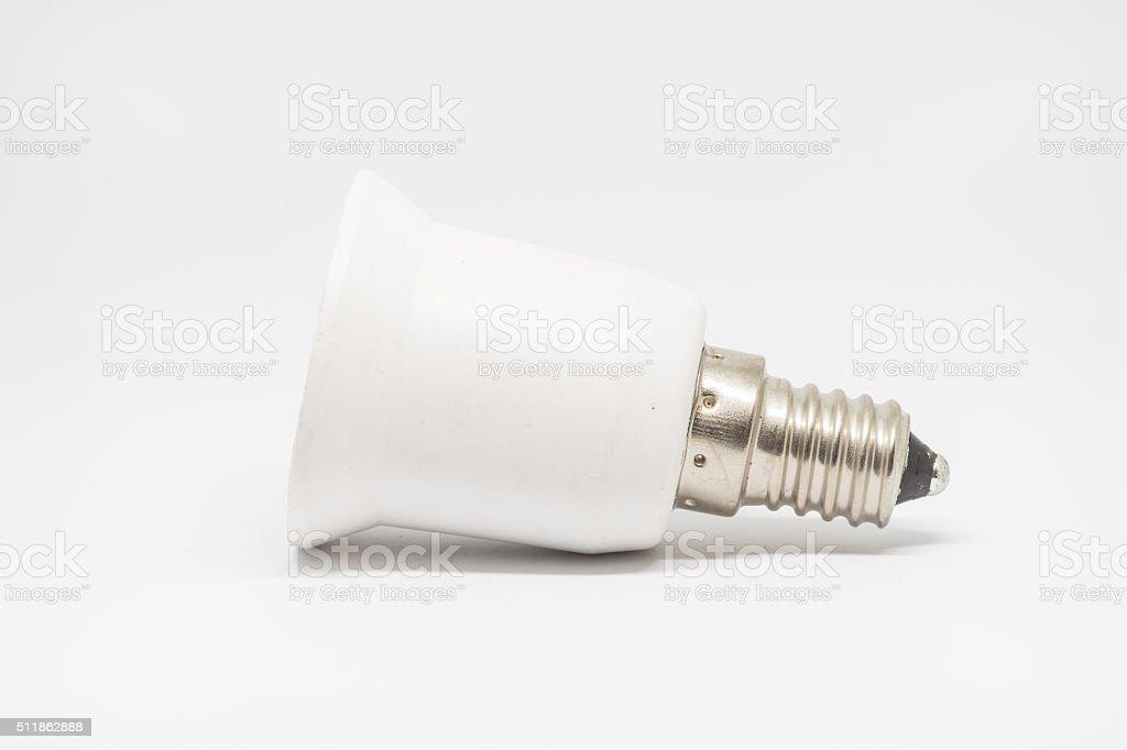 E14 to E27 Lamp holder adapter stock photo
