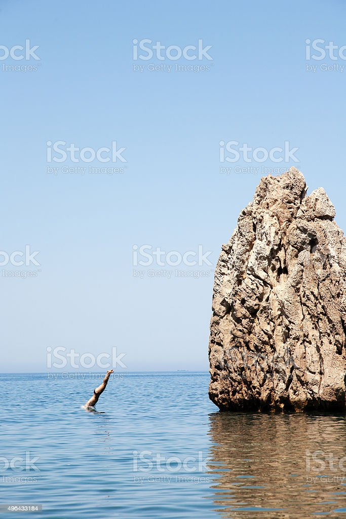 To give the jump stock photo