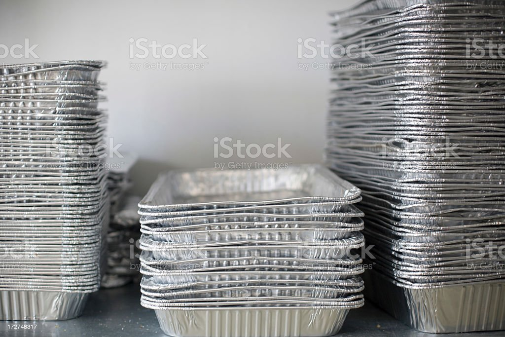 to go containers stacked in a commercial kitchen royalty-free stock photo