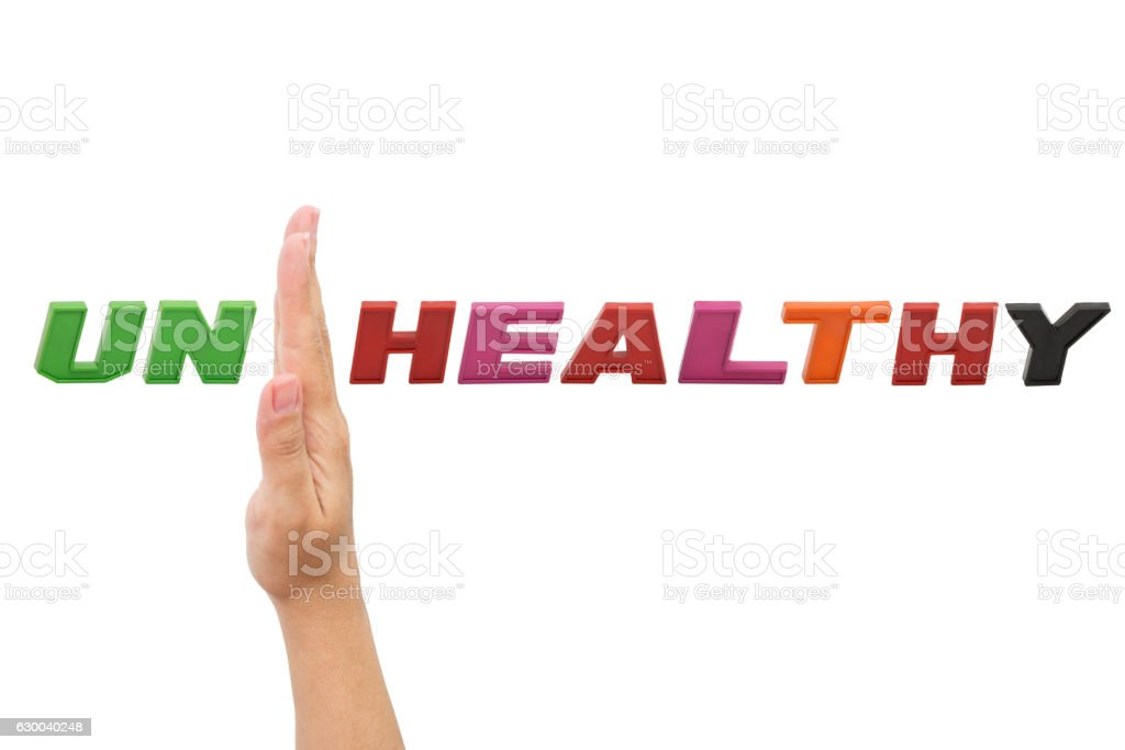 UNHEALTHY to HEALTHY , word with hand stock photo