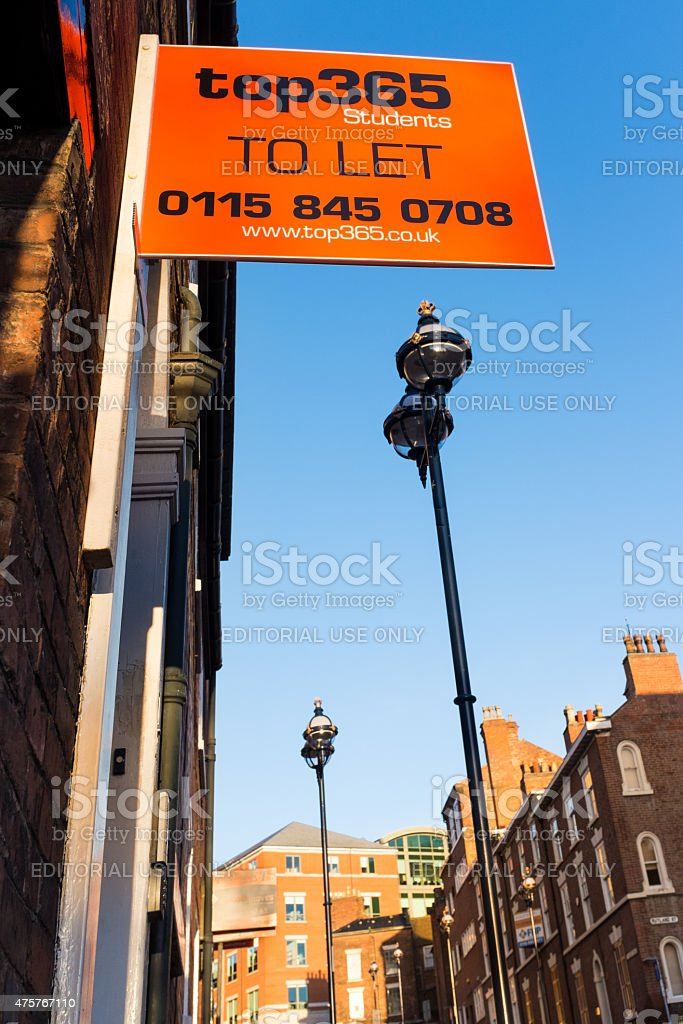 'To Let' sign for Nottingham student accommodation stock photo