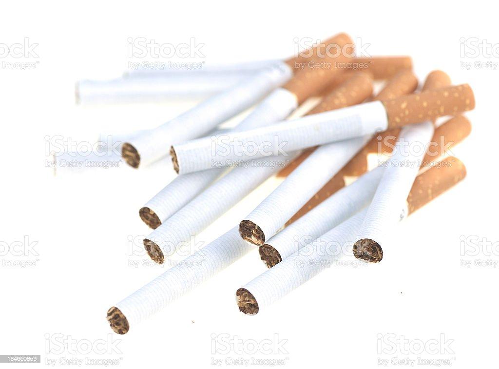 to many cigarettes - viele Zigaretten auf einem Haufen stock photo