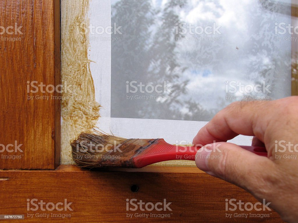 To paint window frame stock photo