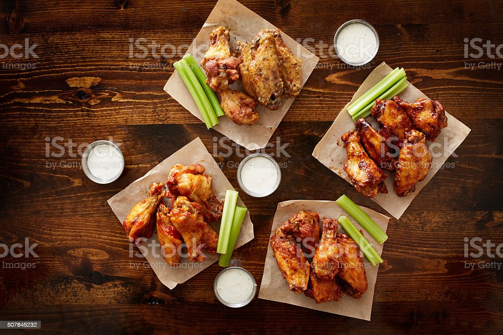 to pdown view of chicken wing party platter stock photo