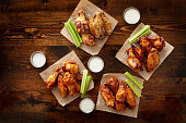 to pdown view of chicken wing party platter
