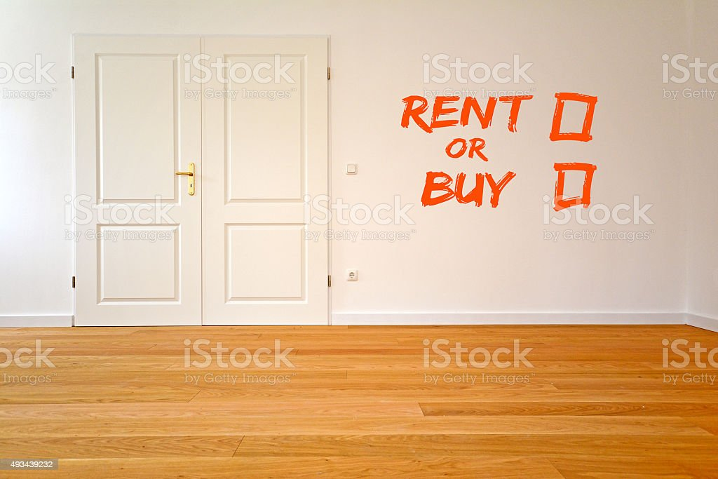 To rent or buy an apartment, Living room with parquet stock photo