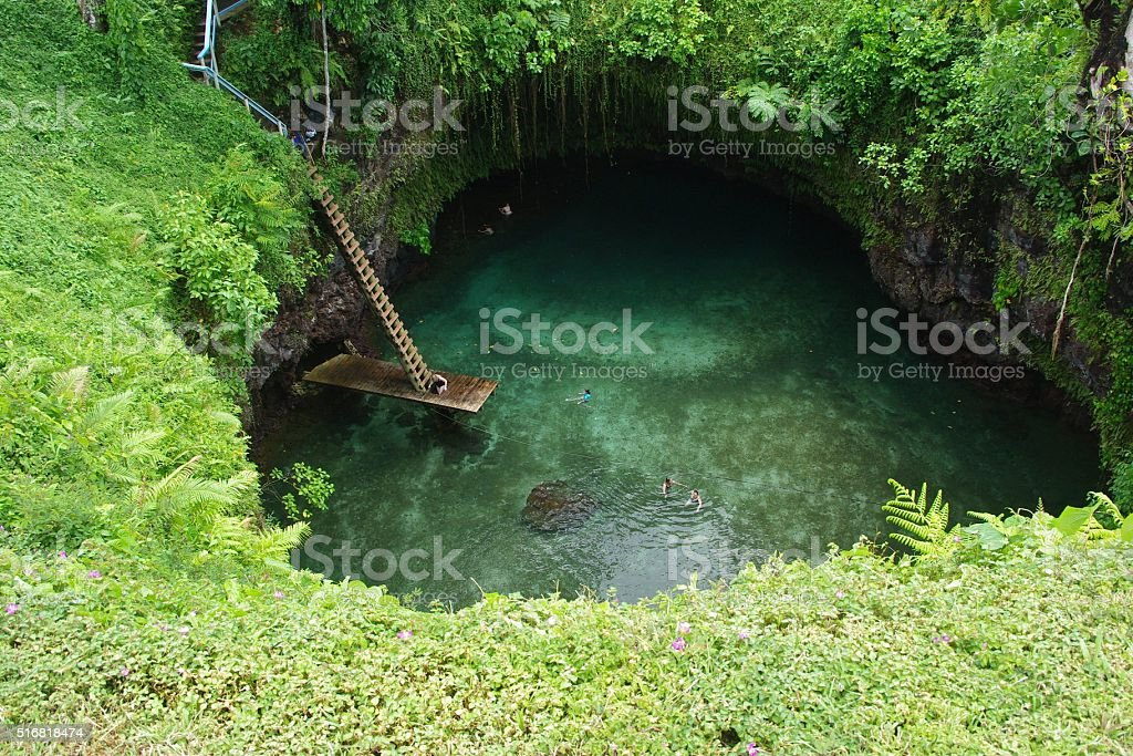 To Sua Ocean Trench in Samoa stock photo