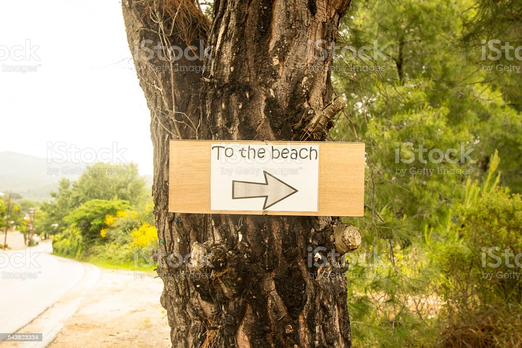 To The Beach Sign Skiathos Greece stock photo