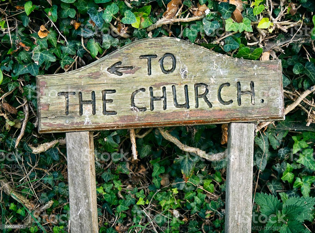 To The Church - sign stock photo