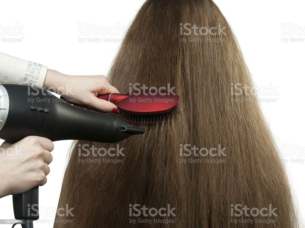 To the girl with long hair stack hairdress royalty-free stock photo