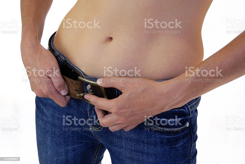 To tighten ones belt stock photo