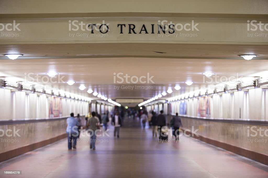 To Trains Corridor at Los Angeles Union Station royalty-free stock photo