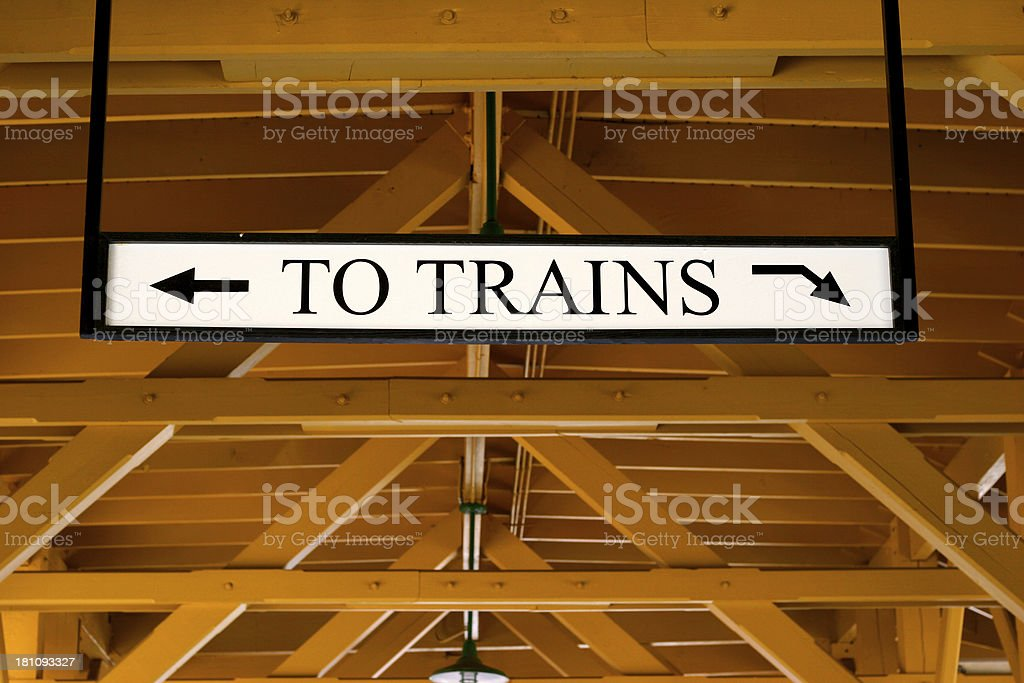 To Trains Sign royalty-free stock photo