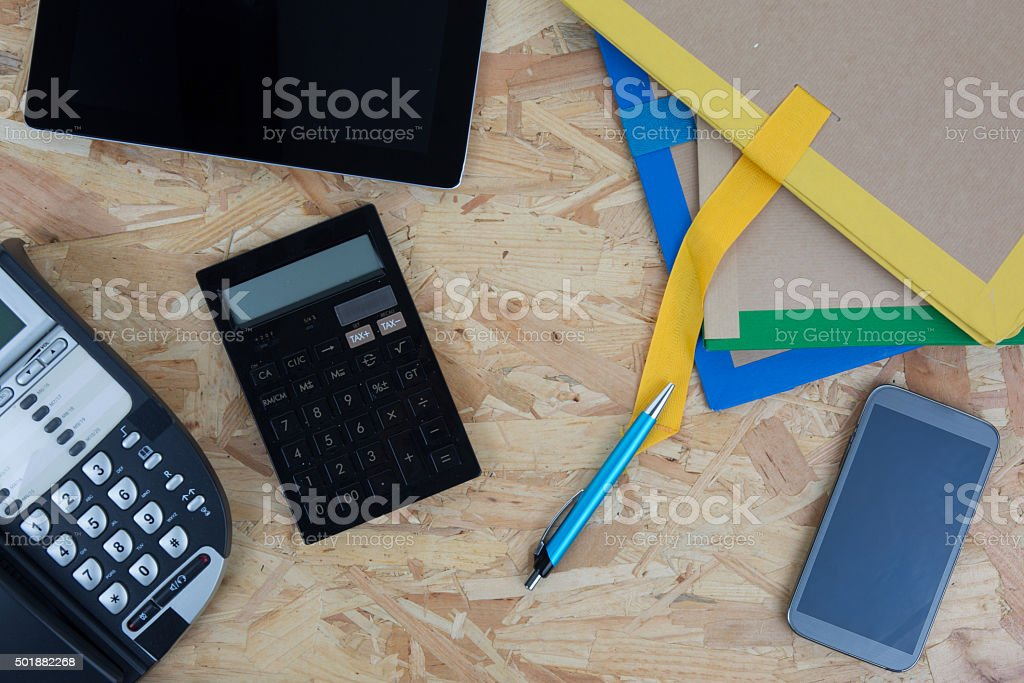To view of drafting tools, laptop, phone, and calculator stock photo