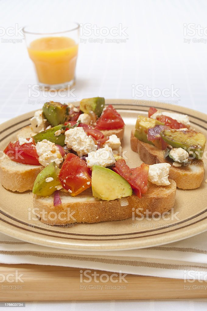 Toast and salsa with orange juice stock photo
