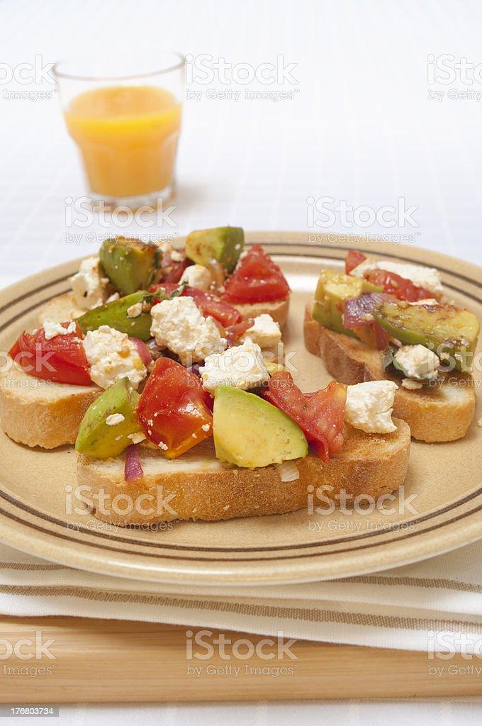 Toast and salsa with orange juice stock photo