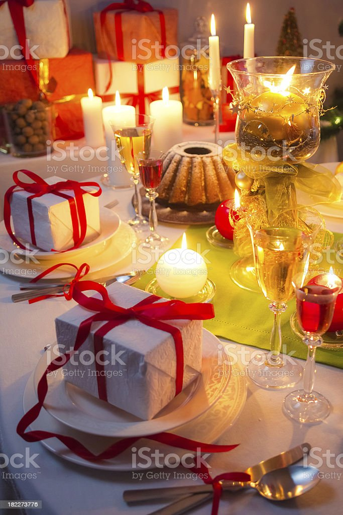 Toast at Christmas table royalty-free stock photo