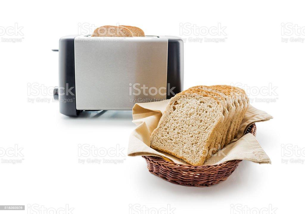 Toast bread and toaster stock photo