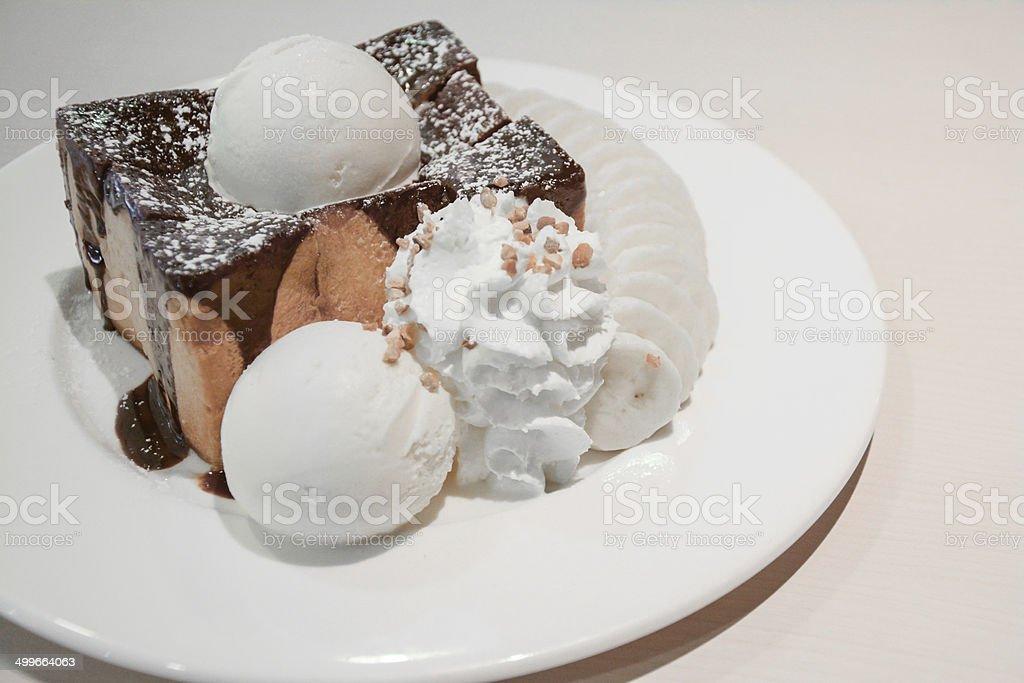 Toast Bread Pudding with ice cream stock photo