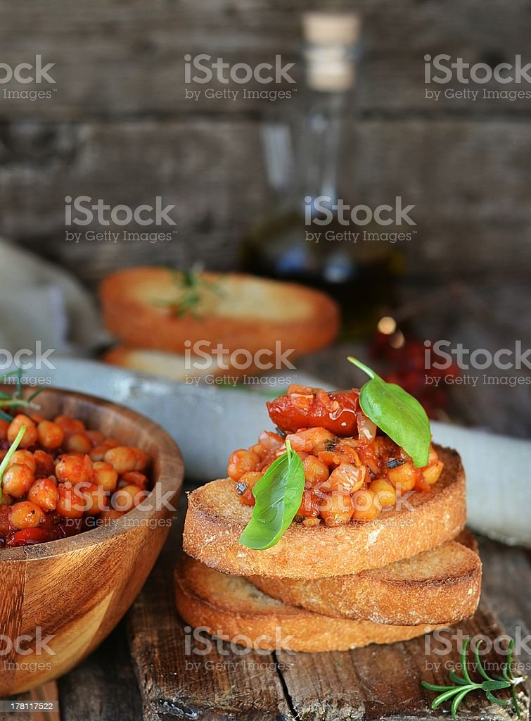 toast bread with chickpeas royalty-free stock photo