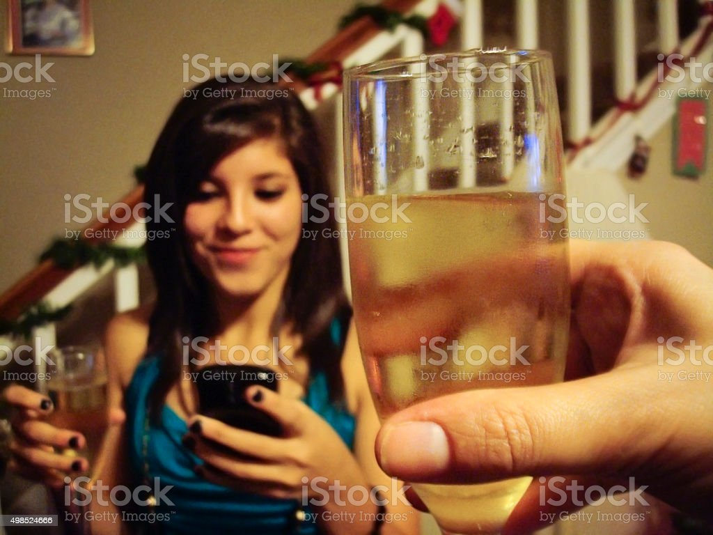 Toast in New Year stock photo