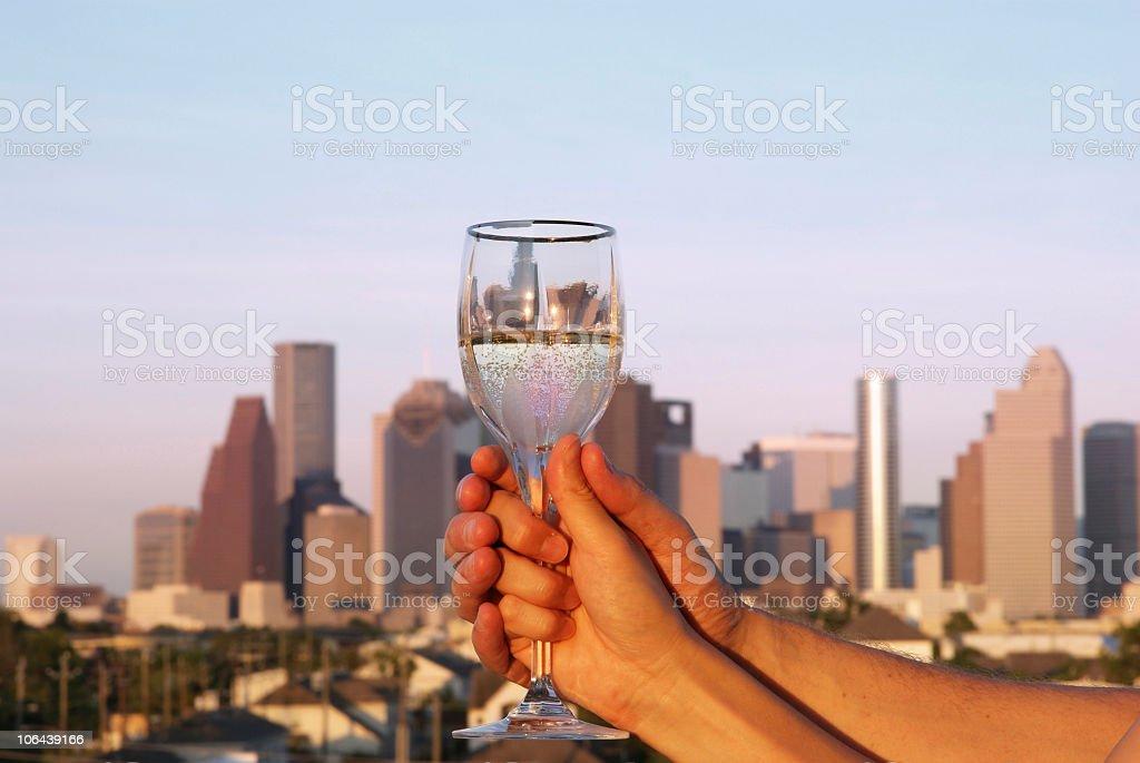 Toast of love with skyline stock photo