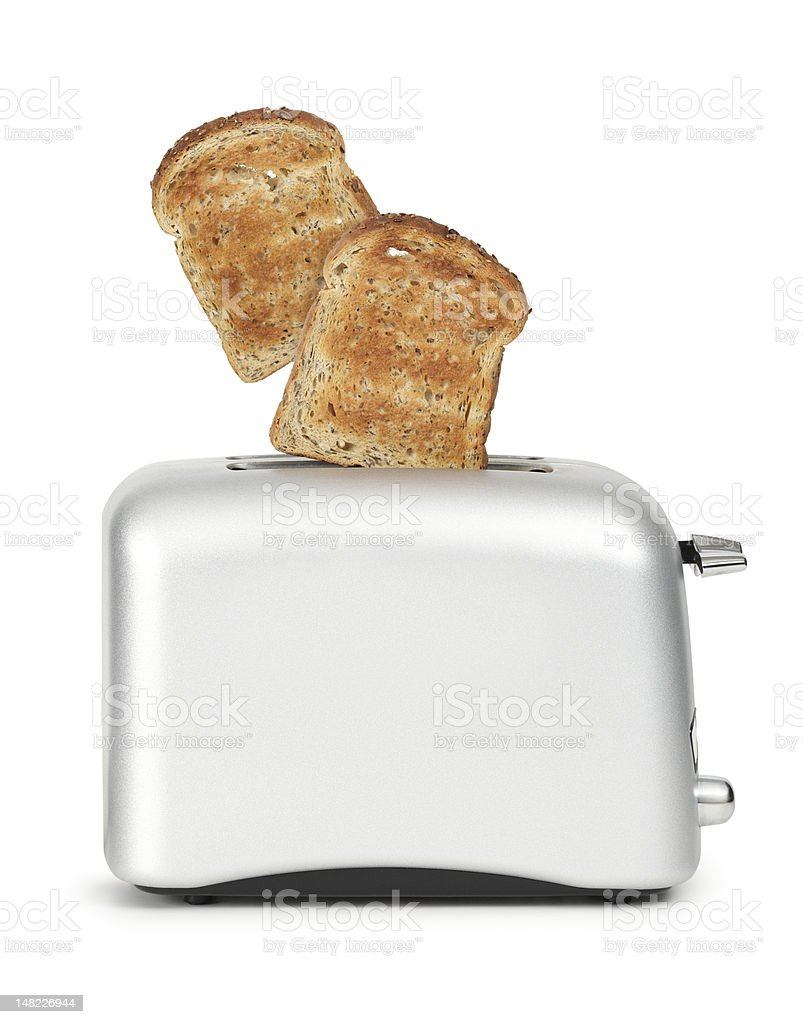 Toast popping out of a toaster stock photo