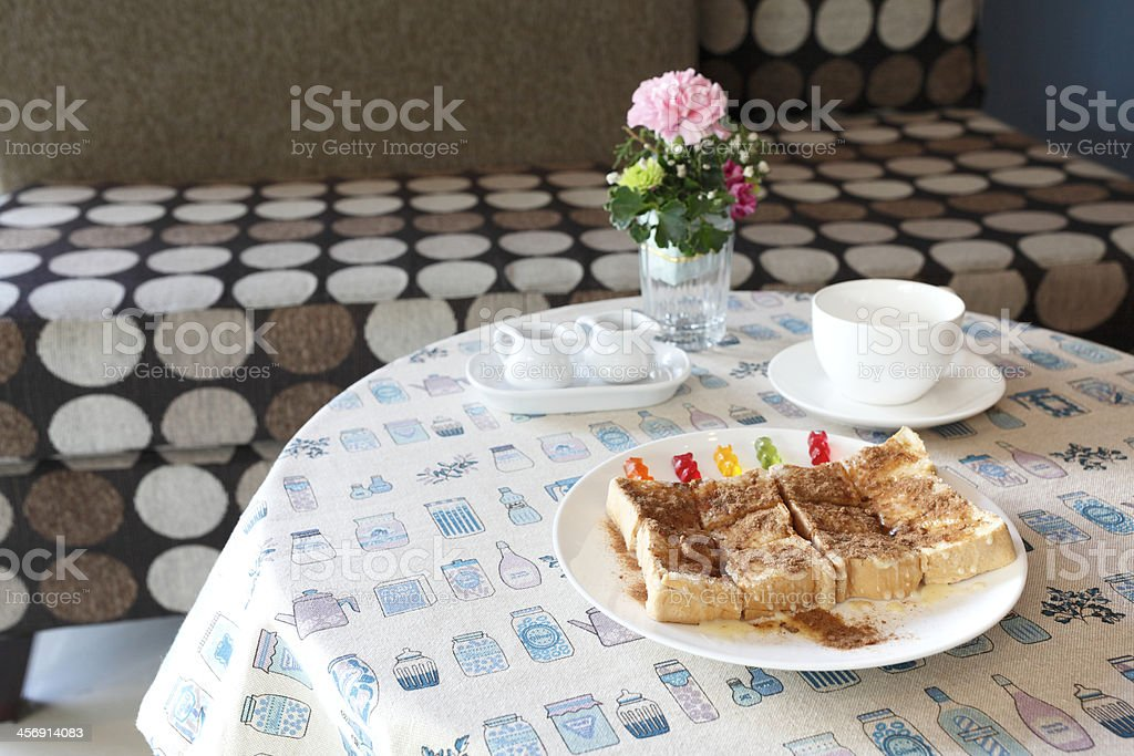 Toast whit sweet milk and coco dust on top stock photo