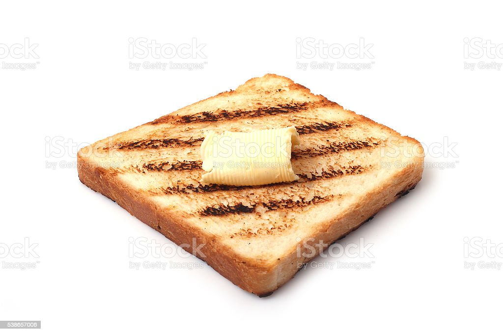 toast with a slice of butter stock photo