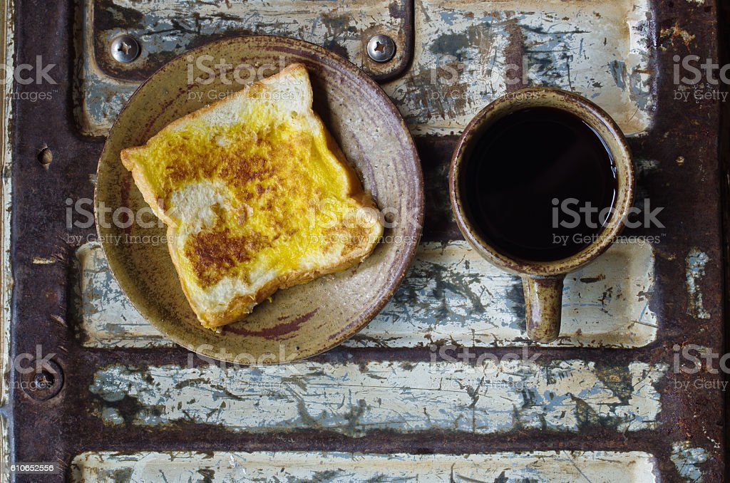 toast with black coffee stock photo