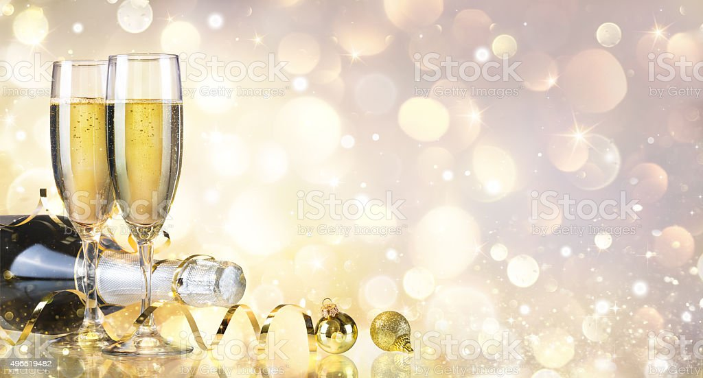 Toast With Bottle And Champagne - Golden Background stock photo