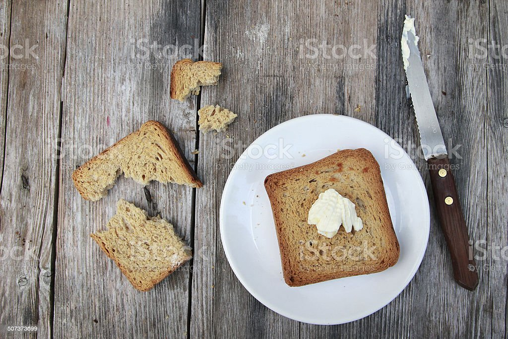 Toast with butter stock photo