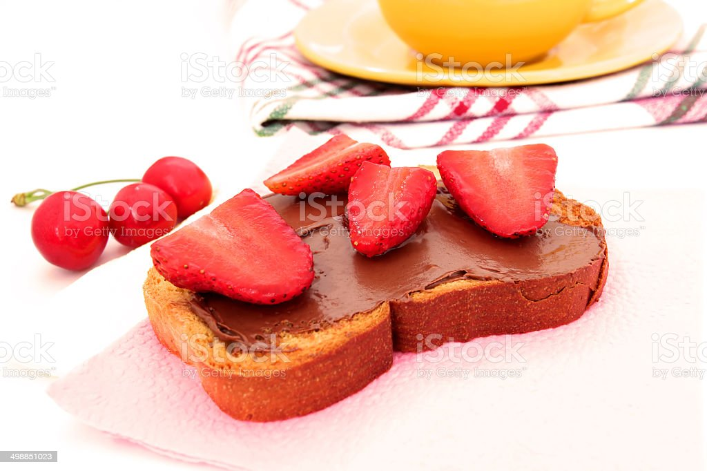 toast with chocolate paste and strawberry slices royalty-free stock photo