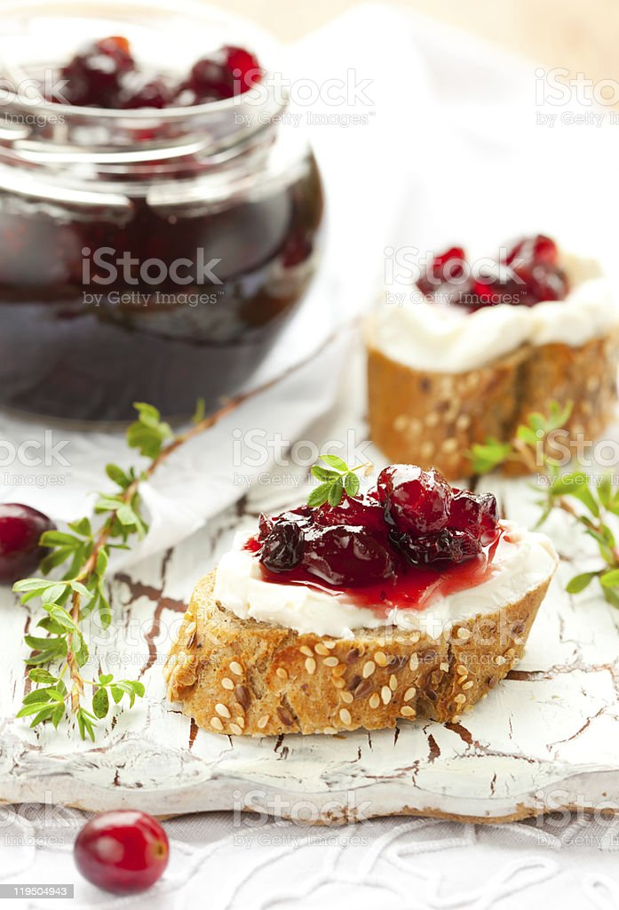 toast with cranberry jam royalty-free stock photo