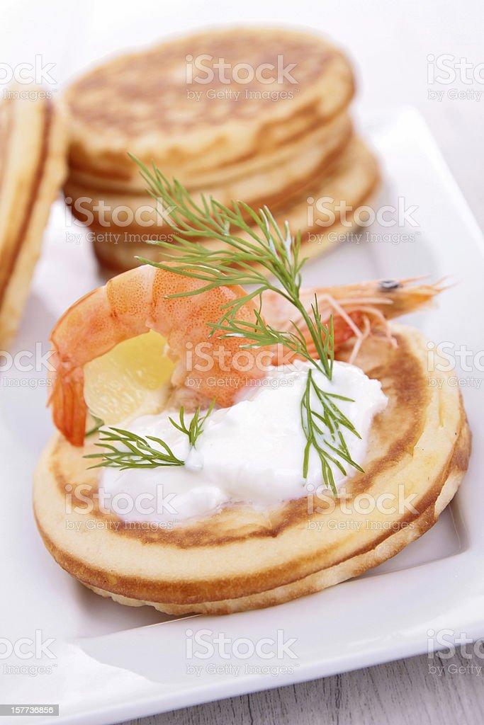 toast with cream and shrimp stock photo