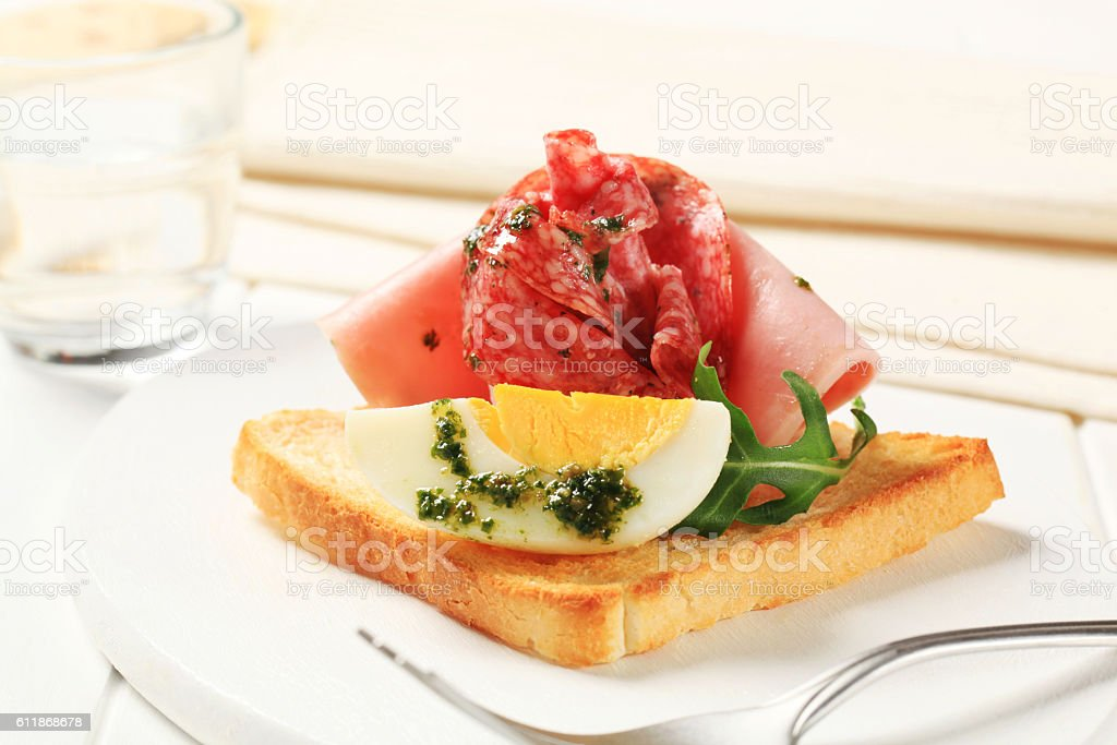Toast with egg and ham stock photo