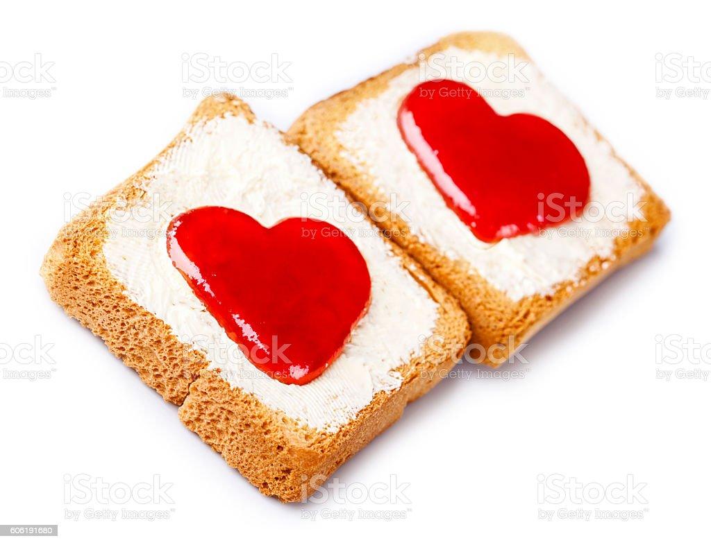 Toast with jam stock photo