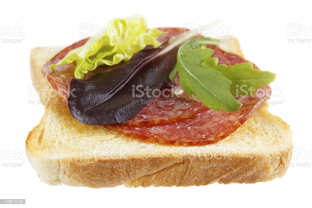 Toast with mettwurst cold cuts royalty-free stock photo