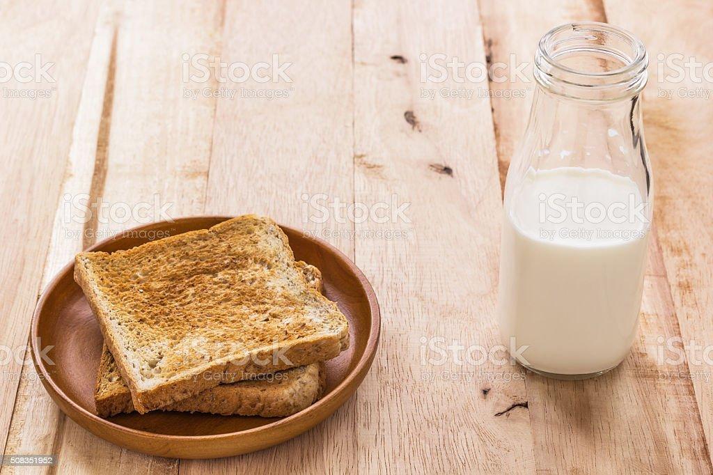 Toast with milk bottle stock photo