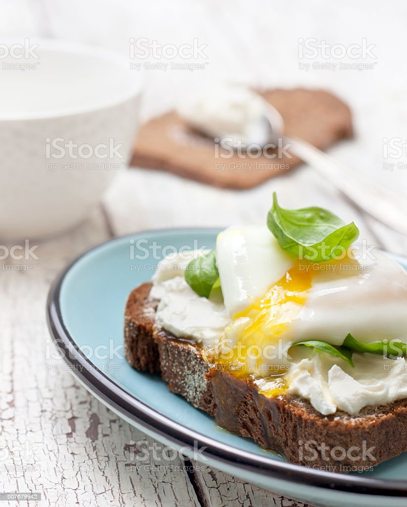 toast with poached egg, cottage  cheese stock photo