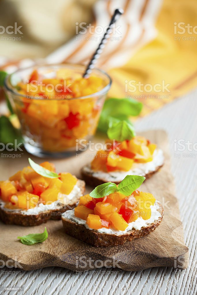 toast with pumpkin chutney royalty-free stock photo