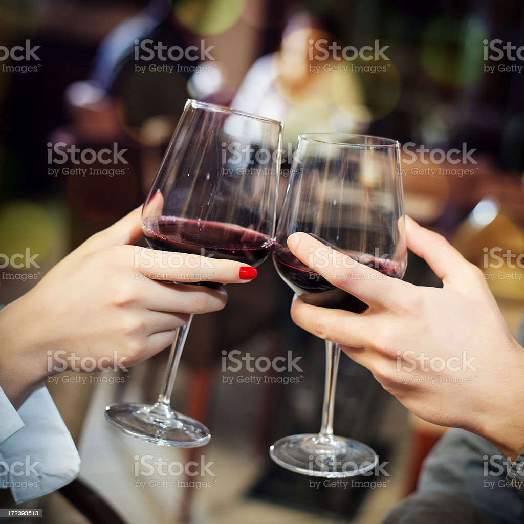 Toast with red wine royalty-free stock photo