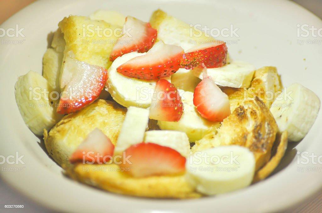 toast with strawberry and banana stock photo