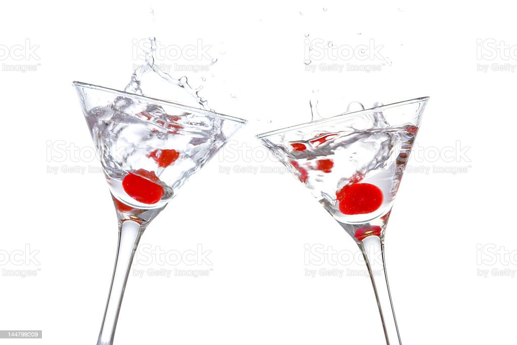 Toast with two cocktail glasses royalty-free stock photo