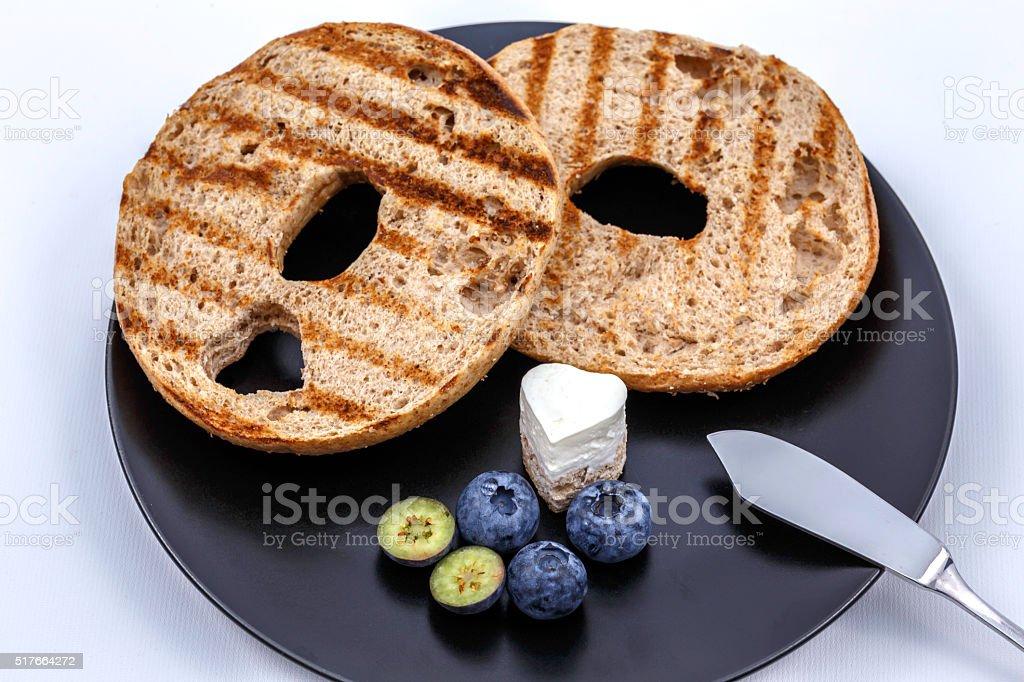 toasted bagel stock photo