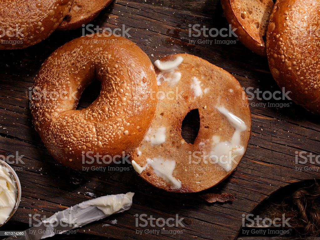 Toasted Bagels with Butter stock photo