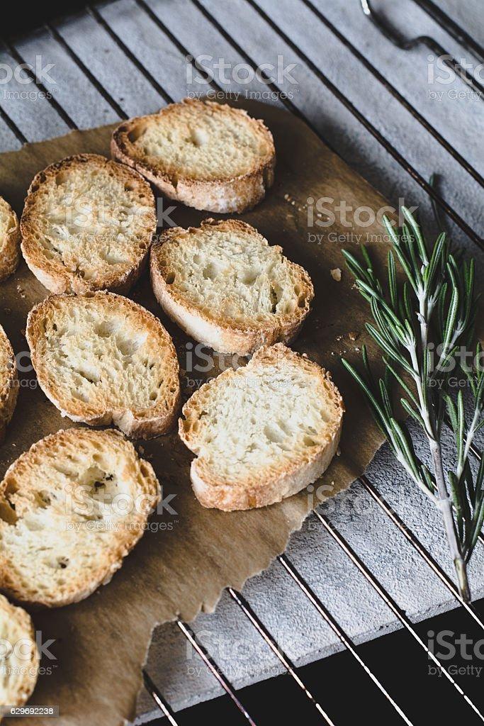 Toasted baguette, crostini stock photo