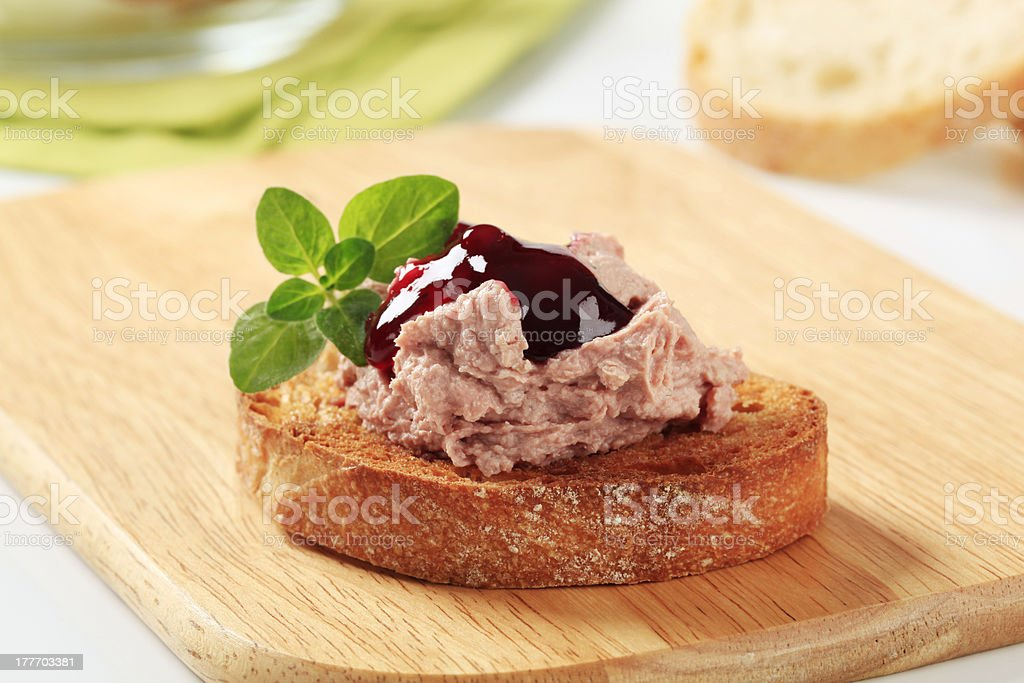 Toasted bread and pate stock photo