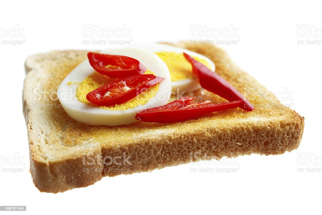 Toasted bread with boiled egg royalty-free stock photo