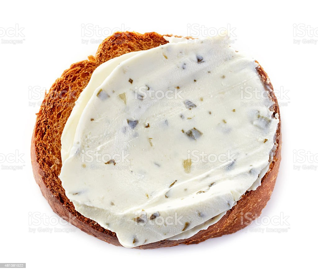 toasted bread with cream cheese stock photo